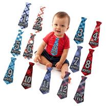 Monthly Milestone Belly Necktie Stickers for Baby Boy -