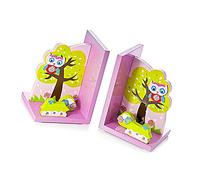 Cute Pink Owl Kids Bookends Girls