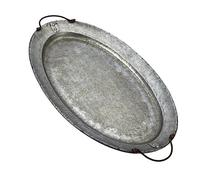 Mud Pie 4894001 Oval Galvanized Tin Serving Tray, Silver
