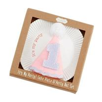 Mud Pie First Birthday Girl Cake Plate & Party Hat 2-Piece