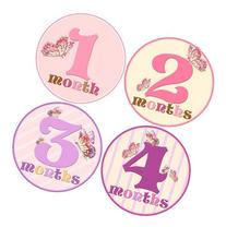 Baby Girl Monthly Milestone Stickers 1-12 Months by Mumsy