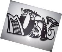 Music Word W/Musical Instruments Metal Wall Art Decor
