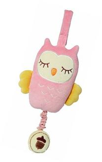 My Natural Owl Musical Pull Toy, Pink