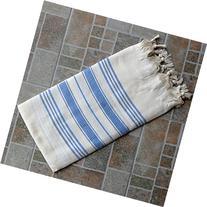 Natural & Navy Blue Turkish Towel Peshtemal - 100% Natural