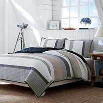 Nautica 201247 Cotton Reversible Quilt, Full/Queen, Tan/Grey