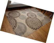 New City Contemporary Modern Flowers Circles Wool Area Rug,