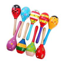 New Wooden Maraca Wood Rattles Egg Shaker Kids Musical Party