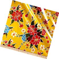 Oilcloth Hibiscus Yellow Fabric By The Yard