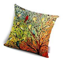 Oil Painting Hundreds of Birds Cotton Linen Throw Pillow