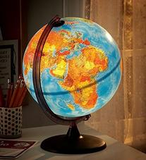 Electric Illuminated Orion Relief World Globe Detailed