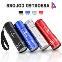 Pack of 4, BYB Super Bright 9 LED Mini Aluminum Flashlight