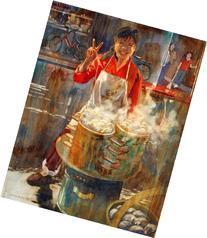 Peace and Dumplings, Giclee Print of a Rainy Street Scene