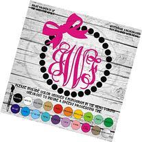 Pearls & Bow Monogram Vinyl Die Cut Decal Sticker for Car