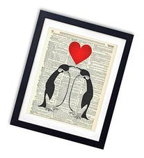 Penguin Love Upcycled Vintage Dictionary Art Print 8x10
