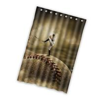 Personalized Baseball player Shower Curtain, Shower Rings