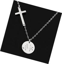 Monogrammed Cross Necklace . Sterling Silver . Sideways