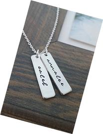 Personalized Mommy Necklace with Hand Stamped Names
