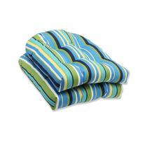 Pillow Perfect Outdoor Topanga Stripe Lagoon Wicker Seat