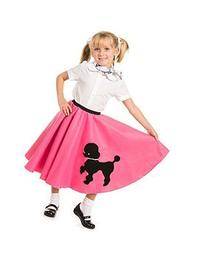 Poodle Skirt with Musical Note printed Scarf Hot Pink by
