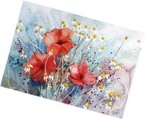 Poppies of the Field, Giclee Print of Watercolor Flower