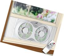 "Portable Twin 9"" Reversible Window Fan with Remote Control"