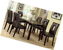 F2093 & F1051 Faux Marble Top W/Brown Leatherette Chairs