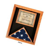 Premium USA-Made Solid Oak Flag And Document Case - Cherry