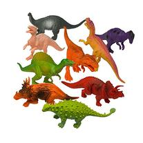 Prextex Plastic Assorted Dinosaur Figures with Dinosaur Book