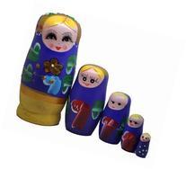 Purple Set of 5 Cutie Nesting Dolls Matryoshka Madness
