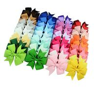 Qandsweet Girls Hair Bow Clips, Barrettes Multicolor, 3 Inch