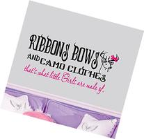 """Ribbons, Bows and Camo Clothes ~ Wall Decal - 13"""" x 28"""" ~"""