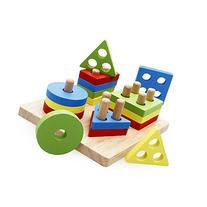 rolimate Wooden Educational Shape Color Recognition Geometric Board Block Stack Sort Chunky Puzzle Toys, Birthday Gift Toy for Age 3 4 5 Years Old and