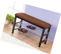 Roundhill Furniture Dark Espresso Wood Shoe Bench with