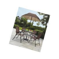 Sand Dune Folding Patio Dining Set & Umbrella Seats 4