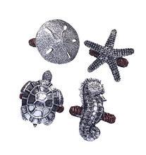 Sanibel Sea Turtle Seahorse Starfish Napkin Rings Set