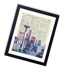 Seattle Color Skyline Upcycled Vintage Dictionary Art Print