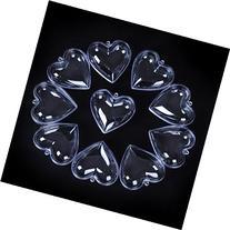 Seekingtag Clear Plastic Heart Shape Box Fillable Ornaments
