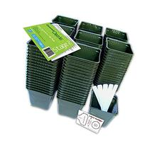 "Set of 150 Plastic Nursery Plant Pots, ""Seed Shaker"" Card"
