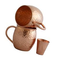 Set of 2 Moscow Mule Copper Mugs with Shot Glass - Two 16 Oz