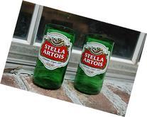Set of 2 Stella Artois upcycled glass tumblers