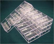Set of 5 stackable acrylic chip racks, each holding 100