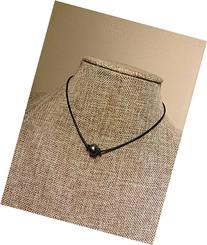 Single Black Peacock Pearl Leather Choker Necklace