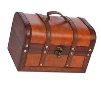 Trademark Innovations Small Wood and Leather Decorative