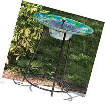 Smart Solar 20221R01 Argus Peacock Glass Solar Birdbath With
