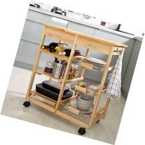 SoBuy Wooden Kitchen Storage Cart with Shelves & Drawers,