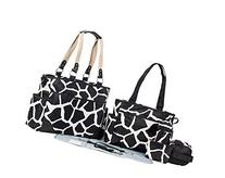 SoHo Collection, Black Giraffe 7 pieces Diaper Bag