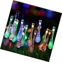 GDEALER Solar Outdoor String Lights 20ft 30 LED Water Drop