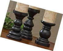 Southport Short Black Pillar Candlesticks, Set of 3
