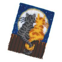 "Wonderart Moonlight Meow Latch Hook Kit, 15"" X 20"