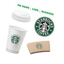 Starbucks White Disposable Hot Paper Cup, 12 Ounce, Sleeves